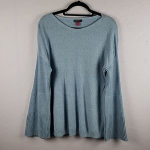 VINCE CAMUTO Blue Boatneck Bell Sleeve Sweater
